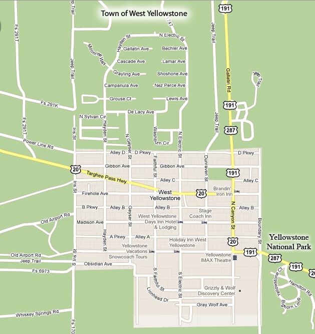 west yellowstone mt map Yellowstone Lodging West Yellowstone Map west yellowstone mt map