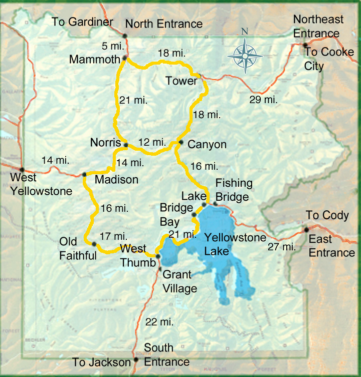 Yellowstone Lodging Yellowstone National Park Map